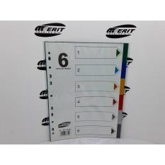 Dividers PVC A4 - Multi Colour 6 Part ( x 150 )