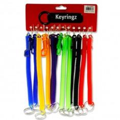 "Keyrings 8"" Spiral Keyring FOB With Clip 5 Pastel Asst."