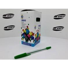 Ball Pen D502 - Transparent Body - Green  ( x 50 )