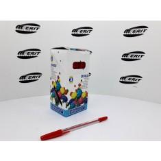 Ball Pen D502 - Transparent Body - Red   ( x 50 )