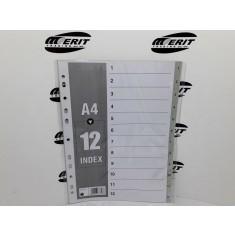 Dividers PVC A4 - Grey 1 - 12 ( x 70 )