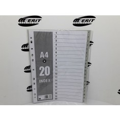 Dividers PVC A4 - Grey 1 - 20 ( x 40 )